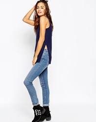 Asos The Scoop Neck Vest In Slouchy Rib With Side Splits Navy