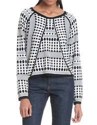 Plenty By Tracy Reese Roundneck Mixed Pattern Sweater Domino