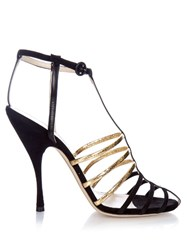 Nina Ricci Cut Out Cage Suede Sandals
