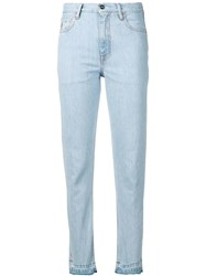 Marcelo Burlon County Of Milan Bleached Tapered Jeans Blue