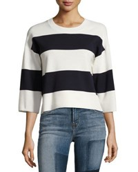J Brand Estero Striped Merino Wool 3 4 Sleeve Sweater Cream Black Iris White Black