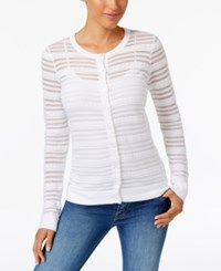 Charter Club Sheer Striped Cardigan Only At Macy's Bright White