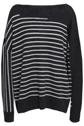 Charli Corley Striped Cashmere Sweater Charcoal