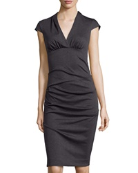 Nicole Miller Ruched V Neck Cap Sleeve Dress Dark Charcoal