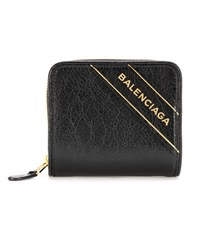 Balenciaga Blanket Leather Wallet Black