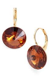 Women's L. Erickson 'Celeste' Round Crystal Drop Earrings Smoked Topaz Gold