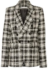Veronica Beard Miller Dickey Double Breasted Crystal Embellished Checked Tweed Blazer Black