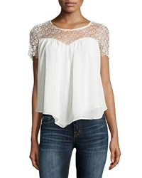Dex Lace Short Sleeve Flowy Blouse Ivory