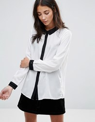 Brave Soul Shirt With Contrast Details Cream With Black Tri