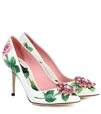 Dolce And Gabbana Embellished Floral Leather Pumps White
