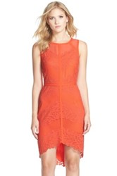 Adelyn Rae Lace Mesh And Chiffon Sheath Dress Red