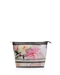 Ted Baker Painted Posie Large Cosmetic Case Baby Pink Rose Gold