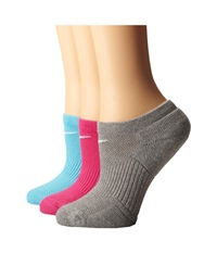 Nike Cotton Cushioned No Show With Moisture Management 3 Pair Pack Clearwater White Vivid Pink White Dark Grey Heather White Women's No Show Socks Shoes Multi