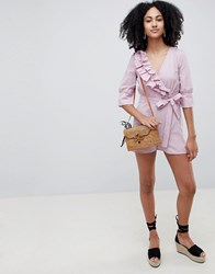 Lost Ink Wrap Front Playsuit With Tie Waist In Ditsy Spot Print Pink