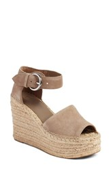 Marc Fisher 'S Ltd Alida Espadrille Platform Wedge Taupe Suede