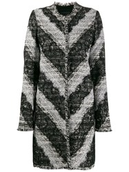 Giambattista Valli Diagonal Stripe Lace Panel Coat Black