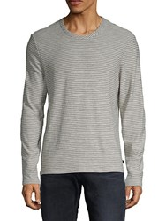 7 For All Mankind Striped Long Sleeve Tee Grey