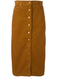 Closed Buttoned Mid Skirt Yellow Orange