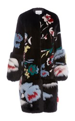 Prabal Gurung Floral Motif Mink And Fox Fur Coat Multi