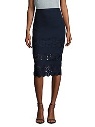 Rebecca Taylor Dia Scalloped Lace Skirt Navy