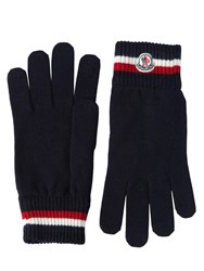 Moncler Striped Wool Knit Gloves Navy