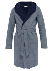 Hamilton And Hare Hooded Striped Cotton Robe Navy