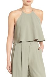 Kendall And Kylie Halter Cropped Shirt Green