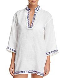 Tory Burch Embellished Tunic Swim Cover Up White