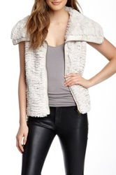 Fever Zip Plush Faux Fur Vest White