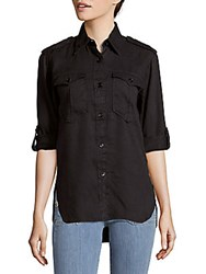 Brunello Cucinelli Cotton Hi Lo Casual Button Down Shirt Black