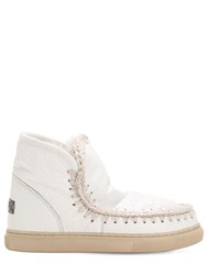 Mou 40Mm Mini Eskimo Crackled Leather Boots White