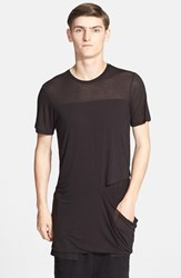 Men's Drifter 'Scythe' Slashed Double Layer T Shirt Black