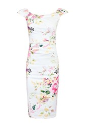 Jolie Moi Floral Print Ruched Wiggle Dress White