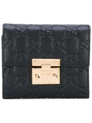 Gucci Gg Signature Padlock Wallet Women Calf Leather One Size Black