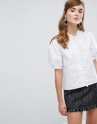Sister Jane Blouse With Broderie Trim White