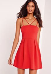 Missguided Double Strap A Line Skater Dress Red Red