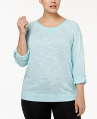Calvin Klein Performance Plus Size Dolman Sleeve Tunic Blue Radiance
