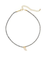 Design Lab Lord And Taylor Pave Horn Pendant Beaded Necklace Black