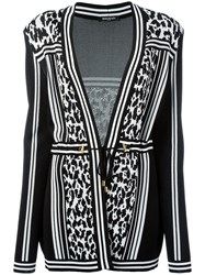Balmain Striped Leopard Belted Cardigan Black