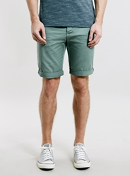 Topman Khaki Longer Length Chino Shorts Green