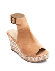Matisse Harlequin Geometric Suede Wedge Sandals Ivory