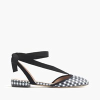 J.Crew Gingham Ankle Wrap Flats