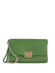 Versace Leather And Goldtone Chain Handbag Green