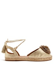 Aquazzura Sunshine Leather Espadrilles Gold