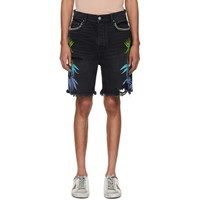 Amiri Black And Multicolor Denim Leaves Shorts