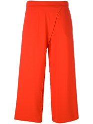 P.A.R.O.S.H. Wide Leg Cropped Trousers Women Polyester Xs Red