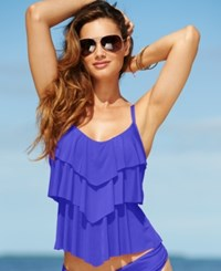 Kenneth Cole Reaction Tiered Ruffle Tankini Top Women's Swimsuit Ocean