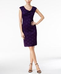 Connected Sequined Lace Sheath Dress Eggplant