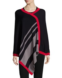 Misook Asymmetric Striped Poncho Women's Black Mink Red Mu