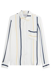 Frame Denim Striped Blouse With Silk Multicolor